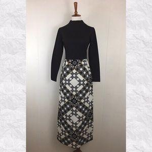 Vintage 80's Long Sleeve High Slit Mini Maxi Dress